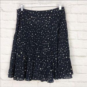 NWT Anne Taylor Pleated Navy Polka Dot Skirt